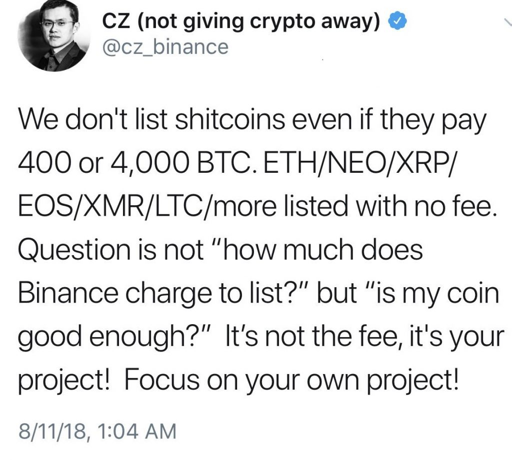 """Binance Denies 400 BTC Listing Quote; Accuser Responds, """"You are a F***king Liar"""""""