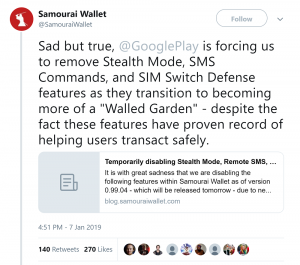 Google Play Store Forces Samourai Wallet to Remove Security Features